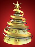 3d golden Christmas tree. 3d illustration of golden Christmas tree over red background with decoration Stock Photo