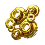3d Golden cogs Royalty Free Stock Photos