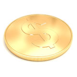 3d golden coin on  white background Stock Images