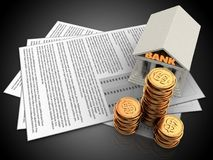 3d golden coins. 3d illustration of documents and bank over black background Stock Photo
