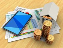 3d golden coins. 3d illustration of business documents and tablet computer over wood table background with bank Stock Image