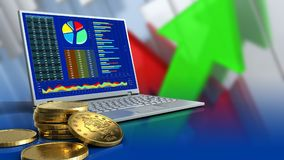 3d golden coins. 3d illustration of computer over arrows graph background with golden coins Stock Photos