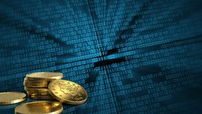3d golden coins. 3d illustration of golden coins over binary background Royalty Free Stock Photography