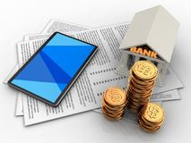 3d golden coins. 3d illustration of papers and tablet computer over white background with bank Royalty Free Stock Photo