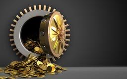 3d golden coins over black. 3d illustration of golden coins storage over black background Stock Photo