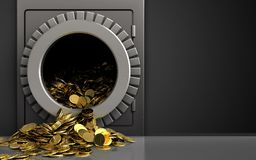 3d golden coins over black. 3d illustration of metal safe with golden coins over black background Royalty Free Stock Image