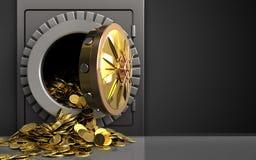 3d golden coins over black. 3d illustration of metal safe with golden coins over black background Stock Photos