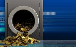 3d golden coins over cyber Stock Photo