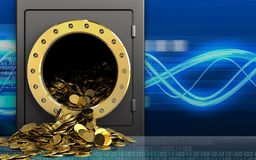 3d golden coins over digital waves Vector Illustration