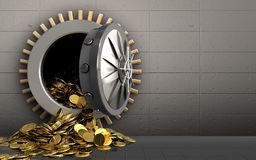 3d golden coins over iron wall Stock Images