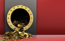 3d golden coins over red. 3d illustration of metal box with golden coins over red background Stock Photos