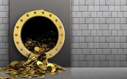 3d golden coins over white stones. 3d illustration of metal box with golden coins over white stones background Royalty Free Stock Photography