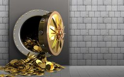 3d golden coins over white stones Royalty Free Stock Photos