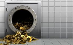 3d golden coins over white wall Stock Images