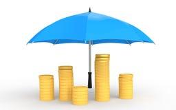 3d golden coins under umbrella Stock Photo