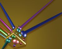 Golden cube with coloured spheres. 3D golden cube with coloured spheres Royalty Free Stock Photo
