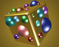 Golden cube with coloured spheres. 3D golden cube with coloured spheres Stock Photos
