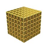 3D Golden Cubes. Isolated on White or Transparent Background Royalty Free Stock Photography