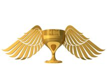 3d golden cup with wings Stock Photography