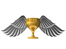 3d golden cup with wings Stock Photos
