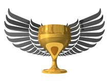 3d golden cup with wings Royalty Free Stock Image
