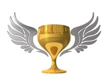 3d golden cup with wings Royalty Free Stock Photo