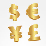 3D Golden currency signs Stock Photos