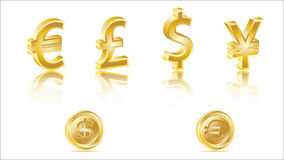 3D golden currency signs Stock Image