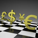 Currency war. 3D golden currency symbols on chessboard Stock Image