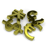 Currency symbols set on white. 3D golden currency symbols set on white background illustration Royalty Free Stock Photos