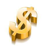 3D Golden Dollar Sign. With white background Stock Images