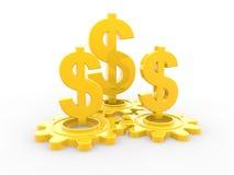 3d golden dollar symbols and gears Royalty Free Stock Photos