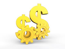 3d golden dollars symbols and gears Royalty Free Stock Image