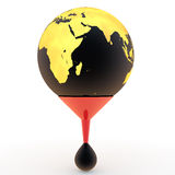 3d golden earth globe and oil drop Royalty Free Stock Photos