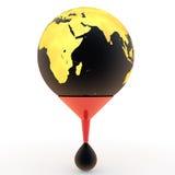 3d golden earth globe and oil drop. 3d golden earth globe on a funnel and oil drop Royalty Free Stock Photos