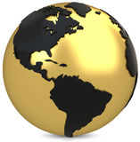 3d golden earth globe. On white background Royalty Free Stock Photos