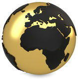 3d golden earth globe Stock Photography