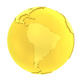 3D golden earth pure gold globe Royalty Free Stock Image
