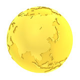 3D golden earth pure gold globe Stock Images