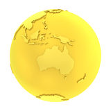 3D golden earth pure gold globe Stock Photography