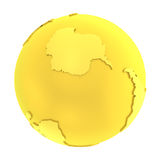 3D golden earth pure gold globe Royalty Free Stock Images