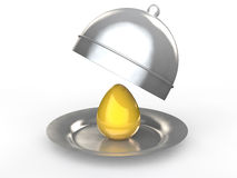 3d golden egg in a dish Stock Images