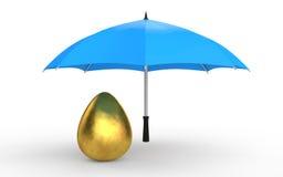 3d golden egg under umbrella. 3d render of golden egg under umbrella Royalty Free Stock Photos