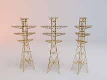 3d Golden Electricity antenna Royalty Free Stock Images