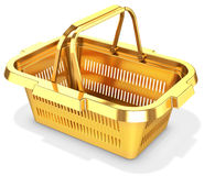 3d golden empty shopping basket. On white background Royalty Free Stock Photography