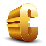 3D golden Euro sign  on white Stock Photo