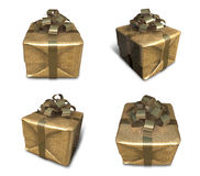 3D golden gift box packaging. 3D Icon Design Series. Royalty Free Stock Photography