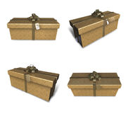 3D golden gift box set in a rectangle. 3D Icon Design Series. Royalty Free Stock Image
