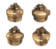 3D golden gift box set in a round. 3D Icon Design Series. Stock Photography