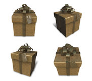 3D golden gift box set in a square. 3D Icon Design Series. Royalty Free Stock Images